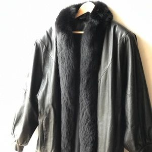 Jackets & Blazers - Leather jacket fur collar